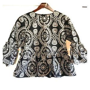 ASOS Black Premium Embroidered Smock Top